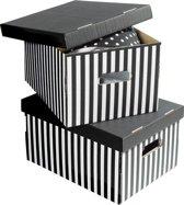 Set van 2 Gestreepte Kartonnen Bewaardozen - Zwart/Wit