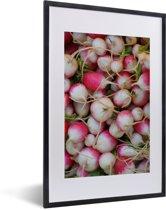 Foto in lijst - Kleurrijke knolrapen bij elkaar fotolijst zwart met witte passe-partout 40x60 cm - Poster in lijst (Wanddecoratie woonkamer / slaapkamer)