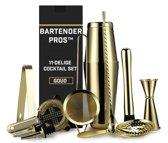 Cocktail Set van Bartender Pros™ - 11-Delige Luxe Cocktailbox - RVS - Professionele Cocktailset -  Inclusief Lepel & Accessoires - Cocktailshaker - Mixer - Goud