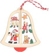 Houten bel met kerstman kerstversiering hangdecoratie 10 cm