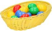 Geel paasmandje met eieren - paaseieren mandje geel