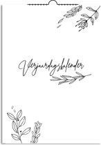 DesignClaud Verjaardagskalender bloemen zwart wit - A4 formaat Stationery