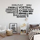 Muursticker Voetbal Woorden Wolk -  Lichtbruin -  160 x 75 cm  - Muursticker4Sale