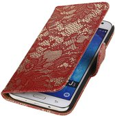 Samsung Galaxy J3 J300F Rood | Lace bookstyle / book case/ wallet case Hoes  | WN™
