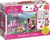 Disney Minnie Mouse en Katrien Duck - Puzzle & Colour - 18 stukjes - inclusief 5 kleuren krijtjes