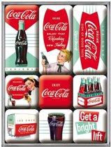Coca Cola -Diner set magneten 9 stuks, Amerika USA, Metaal