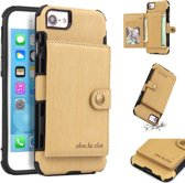 Let op type!! For iPhone 6s / 6 Brushed Texture Shockproof PU + TPU Case  with Card Slots & Wallet & Photo Frame(Gold)