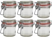 6x Mini weckpot/inmaakpot 100 ml met rode rubberen ring, klepdeksel en beugelsluiting - Kruidenpotjes - Weckpotten - Inmaakpotten - Voorraadbussen