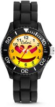 Colori Happy Smile 5 CLK073 Kinderhorloge met Hart Ogen Emoticon - Siliconen Band - Ø 30 mm - Zwart