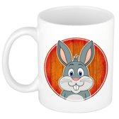 1x Konijnen beker / mok - 300 ml keramiek - konijn dieren bekers voor kinderen