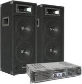 """Complete DJ-set: 2 SkyTec SM28 Disco PA luidsprekers (2 x 8"""") en een SkyTec SKY-480 versterker"""