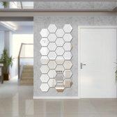 Spiegel Sticker Set - Grote Set - Zilverkleurig - Wandspiegel - Waterproof Badkamer - 16 cm x 18 cm - Groot - 21 Stuks