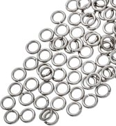 Stainless Steel Buigringen (4 mm) Antiek Zilver (100 Stuks) Dikte 0.8 mm