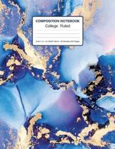 Composition Notebook College Ruled 8.5x11 In 21.59x27.94 50 Sheets/100 Pages: Marble Composition Notebook Wide Ruled Purple And Blue - 1 Subject Noteb