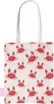 BEACHLANE - Katoenen tasje - Canvas Tote Bag Shopper - Crabs / Krabbetjes / Krabben print - Schoudertas / Boodschappen tas