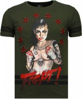 Local Fanatic Fighter! - Rhinestone T-shirt - Groen - Maten: XXL