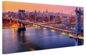 FotoCadeau.nl - Brooklyn Bridge New York Canvas 60x40 cm - Foto print op Canvas schilderij (Wanddecoratie)