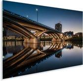 Een verlichte brug in het Amerikaanse Columbus tijdens de avond Plexiglas 180x120 cm - Foto print op Glas (Plexiglas wanddecoratie) XXL / Groot formaat!