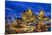 Avondfoto van Erfurt in Duitsland Aluminium 90x60 cm - Foto print op Aluminium (metaal wanddecoratie)