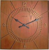 NeXtime Wood Square - Klok - Vierkant - Hout - 50x50 cm - Bruin