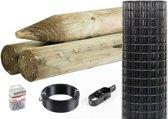 Totaalpakket 25 m zwart Luxus tuingaas inclusief palen -100 cm hoog