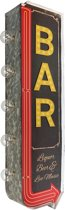 Signs-USA - Light up! Dubbelzijdig BAR vintage marquee uithangbord met bulb lampen - 22 x 8 x 65 cm