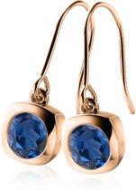 Zinzi - ZIO1150H zilveren oorhangers roségoud verguld blauw