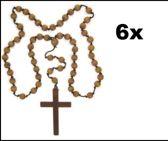 6x Paterskruis / monnikskruis met kralen ketting