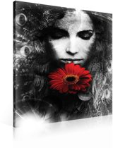 Woman Gerbera Red Canvas Print 80cm x 60cm
