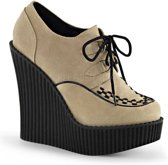 Creeper-302 with braided detail and wedge suede cream - (EU 36 = US 6) - Demonia