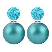 Fako Bijoux® - Oorbellen - Double Disco Dots - Parel - Turquoise