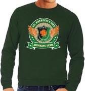 Groene St. Patricks day drinking team sweater heren S