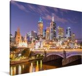Skyline van Melbourne in de nacht Canvas 90x60 cm - Foto print op Canvas schilderij (Wanddecoratie woonkamer / slaapkamer)