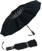 Storm Paraplu Opvouwbaar - Zwart - Polsband - Automatisch Uitklapbaar - Tot 100km p/u Windproof - 110 cm - 12 Panelen