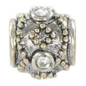 Quiges Bedel Bead - 925 Zilver - 14 Karaat Verguld Kraal Charm met Zirkonia - Z361