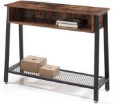 Vintage Consoletafel met Opbergvak - Legplank onderin - 100x35x80cm - Zwart/Vintage Bruin