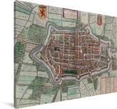 Historische stadskaart van Alkmaar Canvas - Plattegrond 30x20 cm - klein - Foto print op Canvas schilderij (Wanddecoratie woonkamer / slaapkamer)