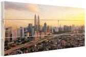 Wolkenkrabbers van Kuala Lumpur Hout 80x60 cm - Foto print op Hout (Wanddecoratie)