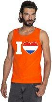 Oranje I love Holland tanktop shirt/ singlet heren - Oranje Koningsdag/ Holland supporter kleding M