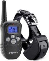 LifeGoods Trainingshalsband met Schok / Vibratie / Geluid - Verstelbare Opvoedings Hals Band voor Kleine tot Middel Grote Honden - 100 Niveaus - 300 Meter Bereik - Regen Bestendig - Zwart