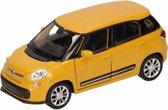 Speelgoed modelauto gele Fiat 500 L auto 11,5 cm