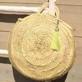 Myroundie - Roundie Bag - Ronde Ibiza Boho Tas 55 - Hand gevlochten Palmblad Tas – Maat L