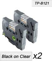 2x Brother  Tze-121 TZ-121 Compatible voor Brother P-touch Label Tapes - Zwart op Transparent - 9mm