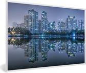 Foto in lijst - De skyline van Wuhan fotolijst wit 60x40 cm - Poster in lijst (Wanddecoratie woonkamer / slaapkamer)