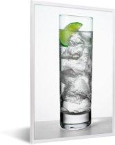 Foto in lijst - Glas met wodka en limoen fotolijst wit 40x60 cm - Poster in lijst (Wanddecoratie woonkamer / slaapkamer)