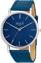 Regal Slimline R16280-13 -  Horloge - Leer - Blauw - 39 mm