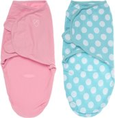 SwaddleMe Inbakerdoek Roze Effen & Aqua/Wit Stippen Small - 2-Pack