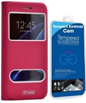 Teleplus Samsung Galaxy S7 Edge New Double Window Case Pink + Glass Screen Protector Including Curve Part hoesje