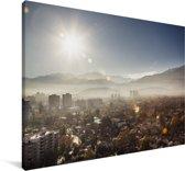 Ochtendzon rijst op boven Santiago in Chili Canvas 60x40 cm - Foto print op Canvas schilderij (Wanddecoratie woonkamer / slaapkamer)
