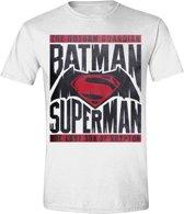Batman v Superman - Logo Text Mannen T-shirt - Wit - S